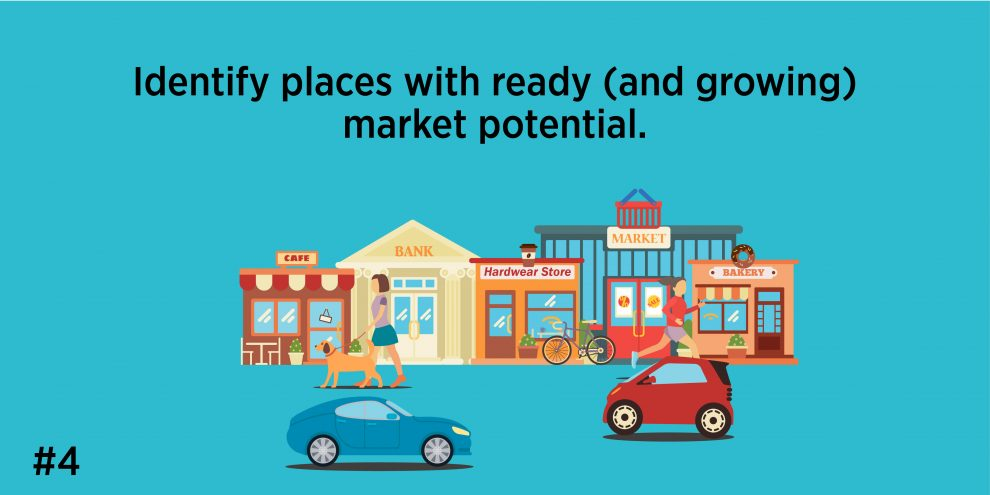 4. Identify places with ready (and growing) market potential.