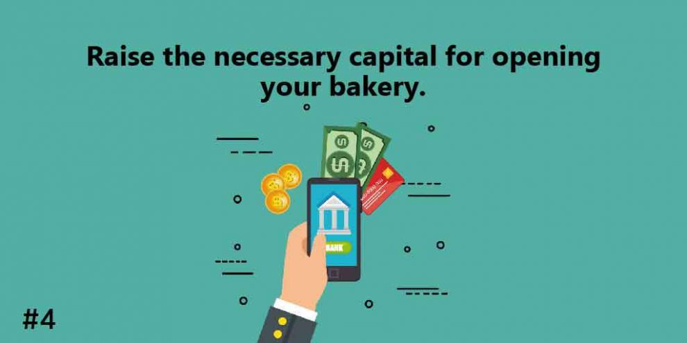 Raise the necessary capital for opening your bakery.