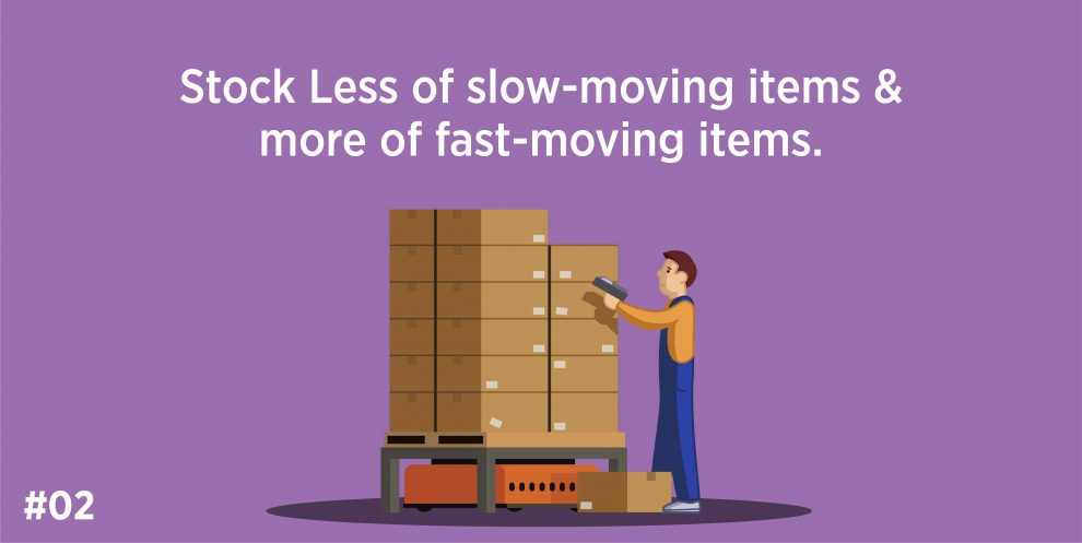 Stock less of slow-moving items & more of fast-moving items