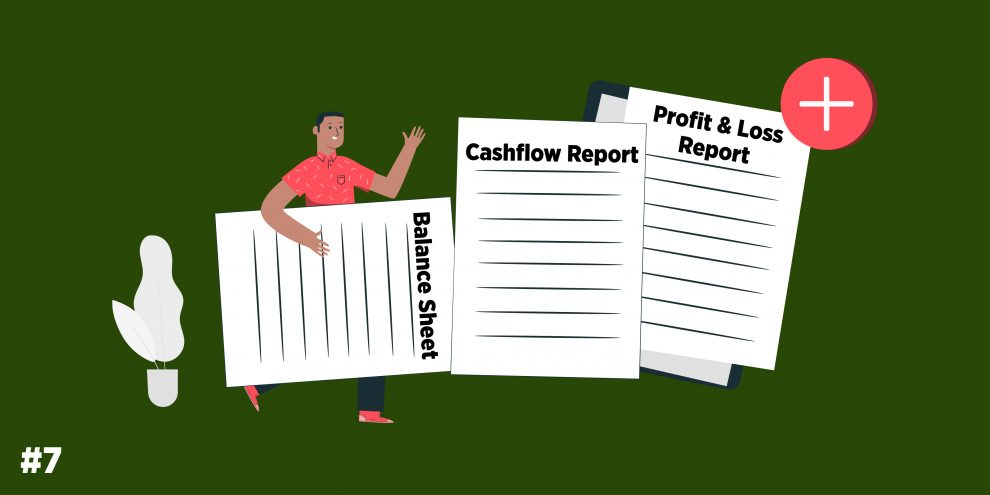 balance sheet, cashflow report, profit and loss report