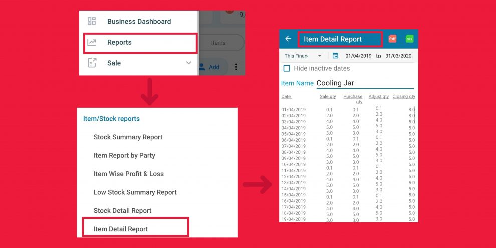 item detail report of inventory management software