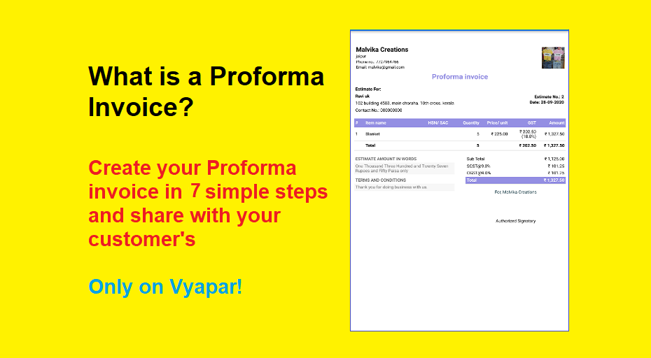 Proforma Invoice - Purpose, Use, Format & How to Create Proforma Invoice in Vyapar?